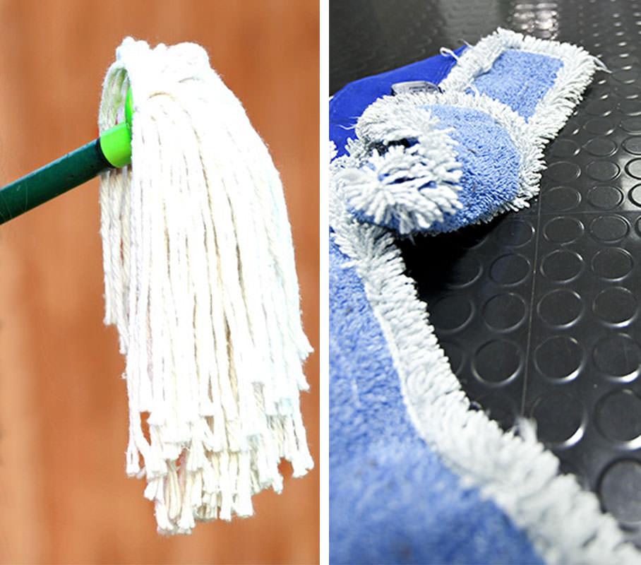(Links: Kentucky-Mopp, rechts: Mikrofaser-Mopp)
